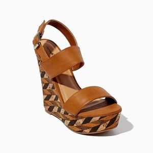 👡 Charming Charlie's Tan Patterned Wedges 👡